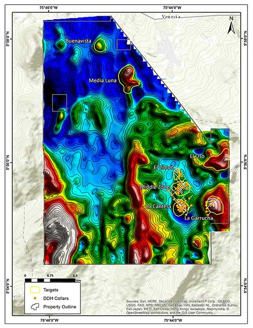 La Mina Project showing the Middle  Zone and La Cantera deposits and adjacent prospects.