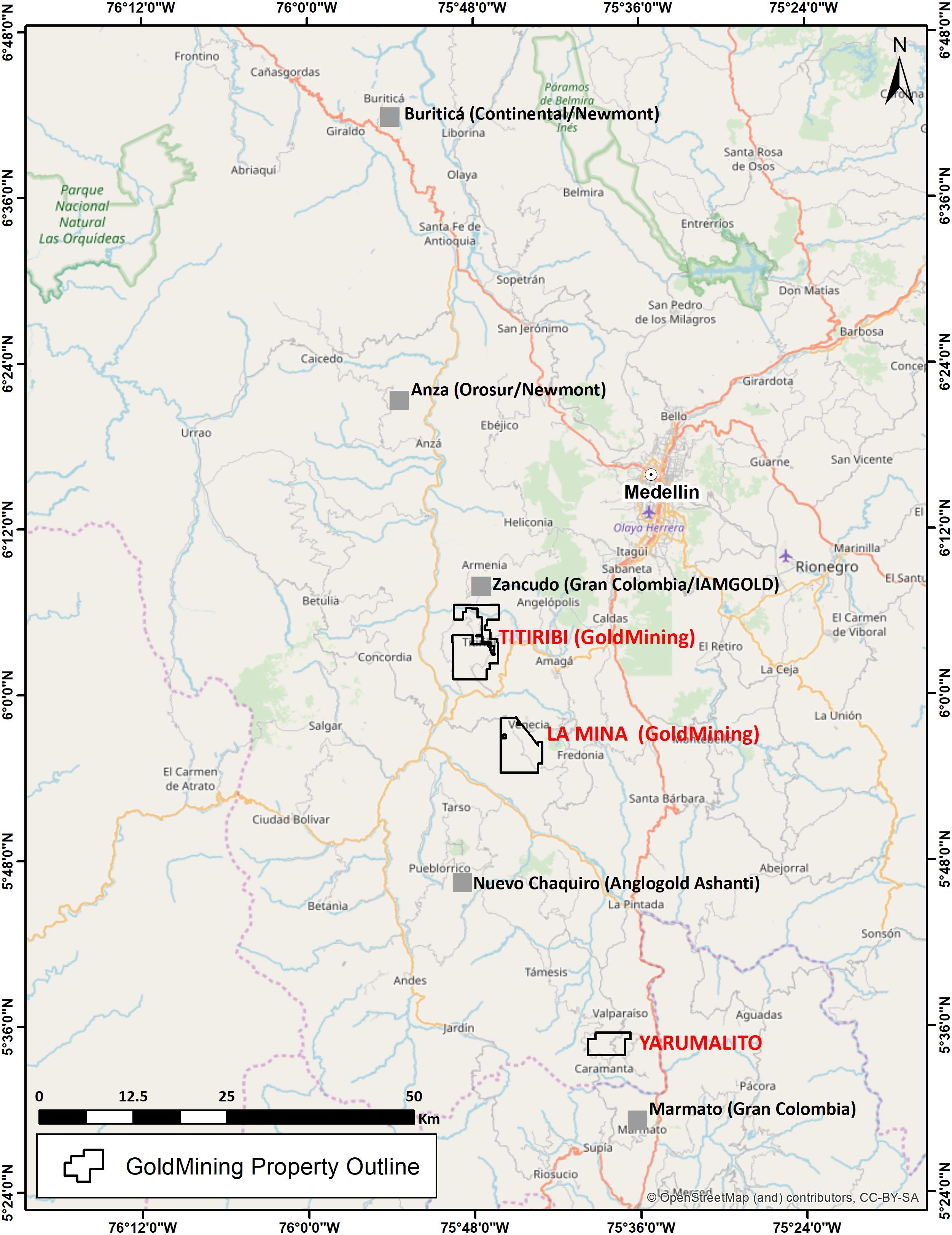 Figura 1: Ubicación del Proyecto Yarumalito y otros proyectos activos de exploración y minas en el cinturón medio del Cauca del centro de Colombia.